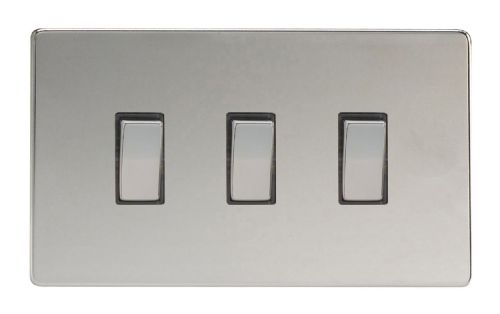 Varilight XDC93S Screwless Polished Chrome 3 Gang 10A 1 or 2 Way Rocker Light Switch (Twin Plate)